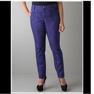 Beautiful Lane Bryant Purple Snakeskin Bling Jeans